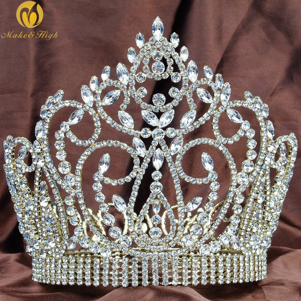 "Fantastic 7"" Tiara Hair Diadem Full Round Gold Crown Clear Austrian Rhinestone Wedding Bridal Miss Pageant Party Costume"