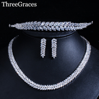 ThreeGraces Brilliant Cubic Zirconia Leaf Shape Silver Color Bridal Wedding Necklace Dangle Earring and Tiara Jewelry Set JS018