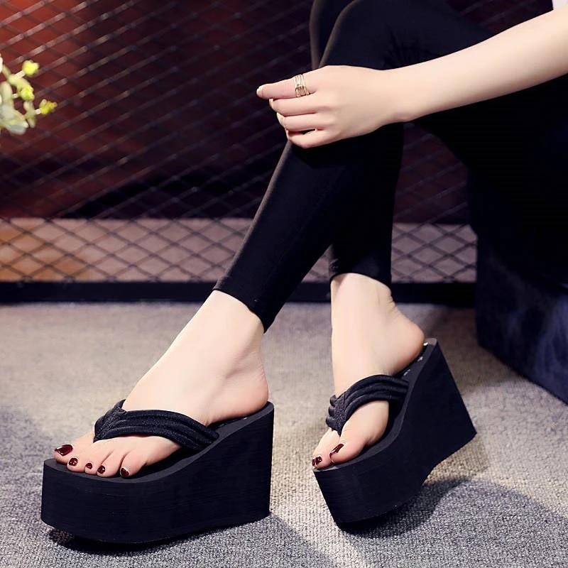 Fashion Women Lady Wedge Platform Thong Flip Flops Sandals Beach Slippers Shoes