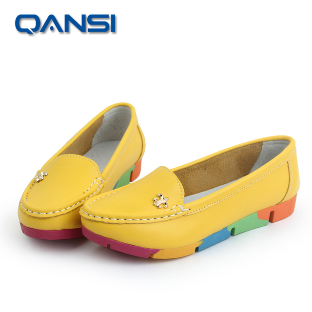 Yellow color New Arrival spring/summer women flat mother office working shoes lady girls outside loafers soft flat driving shoes