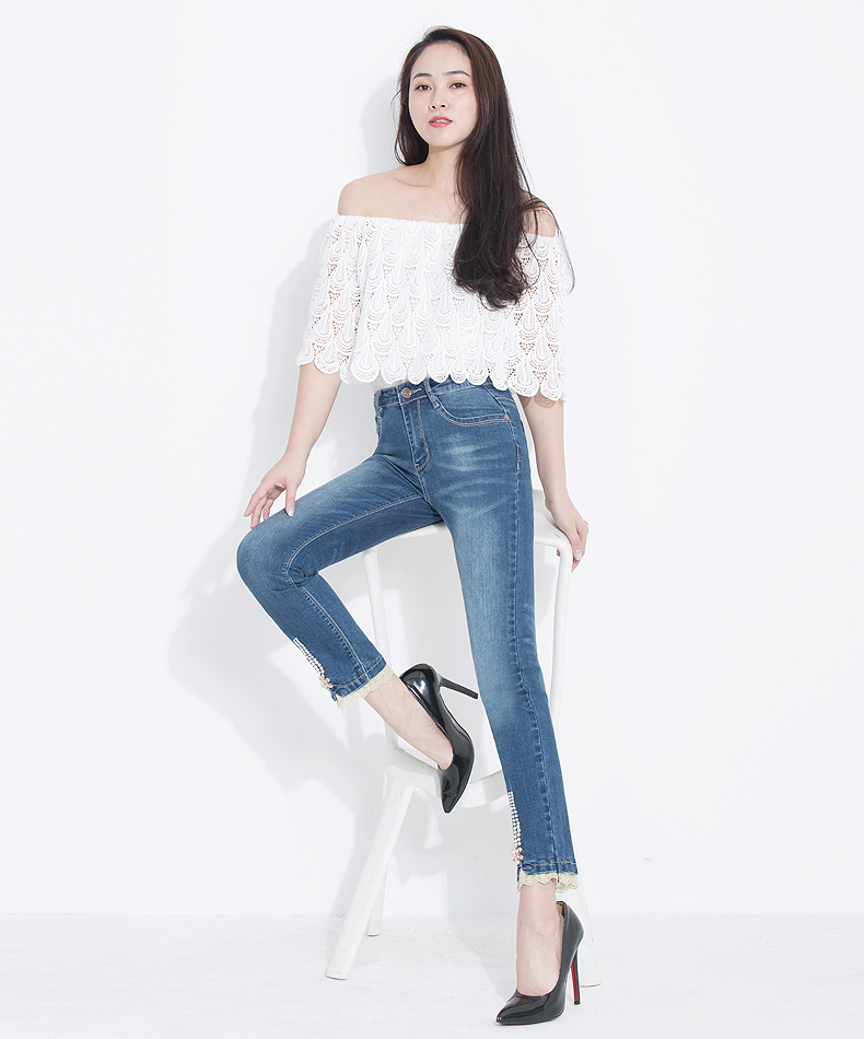 KSTUN FERZIGE Women's Jeans 2020 High Waist Straight Slim Fit Stretch Lace Designer Hand Beads Sexy Ladies Trousers Denim Pants Femme 14
