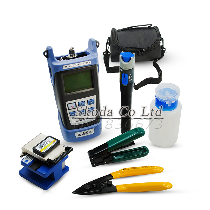 Free shipping 8 in1 Fiber Optic FTTH Tool Kit with Optical Power Meter,Fiber Cleaver,Visual Fault Locator. etc.. fiber optic tool kits 5 in 1 ftth optical fiber cleaver fc 6s 10mw visual fault locator fiber power meter
