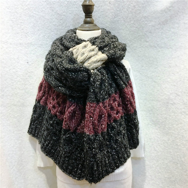 Female Winter Heavy Handmade Knitted Scarf Fashion Space Dyeing ...