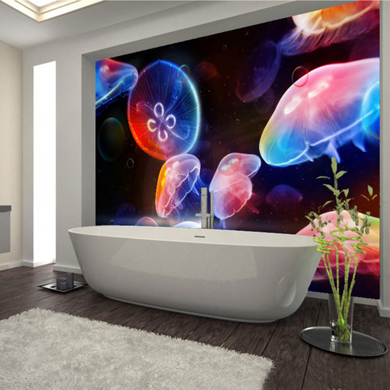 Custom Mural Wallpaper 3D Jellyfish World Bathroom Wall Sticker Modern Creative Home Decor Wall Paper PVC Self Adhesive Stickers munro canada and the world wars paper only