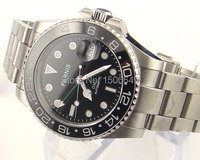 Parnis 40mm GMT Style Ceramic Bezel date sapphire glass automatic mens watch 962