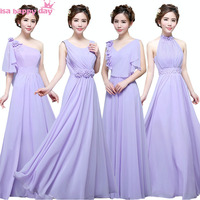 Vestido Longo De Festa Madrinha Long Purple Bridesmaid Chiffon Bridemaid Dresses In Lilac For Bridesmaids Party