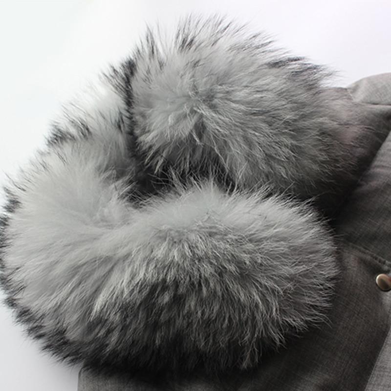 Collier 2018 Fourrure D'hiver Veste Manteau De Gris Détachable Chaud Femmes Laveur Raton Réel Épais Lâche Longue Blanc Canard Duvet D'origine 7r7fZ