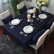 Simanfei  100% Cotton Linen Table Cloth Solid Rectangular Tablecloths Home Blue European-style Table Cloth