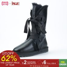 1f62255c79a9 INOE fashion lace up snow boots for women sheepskin leather natural sheep  wool fur lined girls winter shoes waterproof black