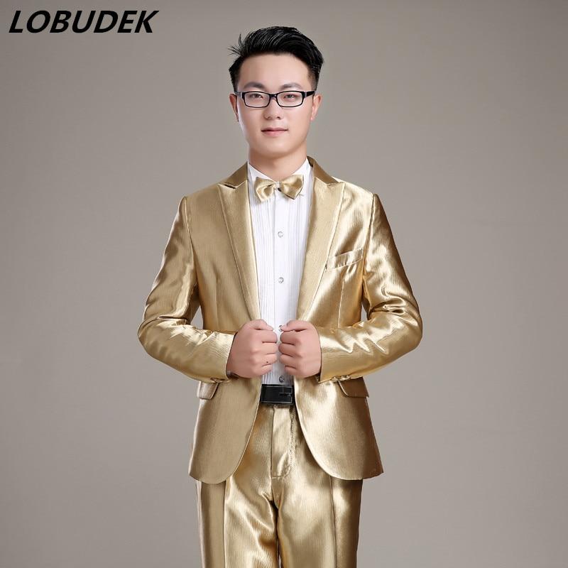 2017 (jacket+tie+ pants) gold male suit costume host wedding Four seasons Studio fashion coat personality slim blazer wear