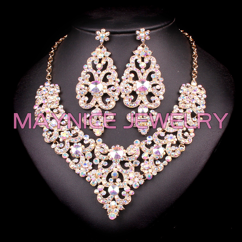 Fashion rhinestones necklace earrings indian bridal for Costume jewelry for evening gowns