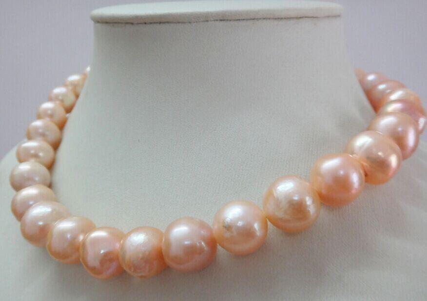 Huge 1812-15mm freshwater genuine gold pink near round pearl necklace 925silverHuge 1812-15mm freshwater genuine gold pink near round pearl necklace 925silver