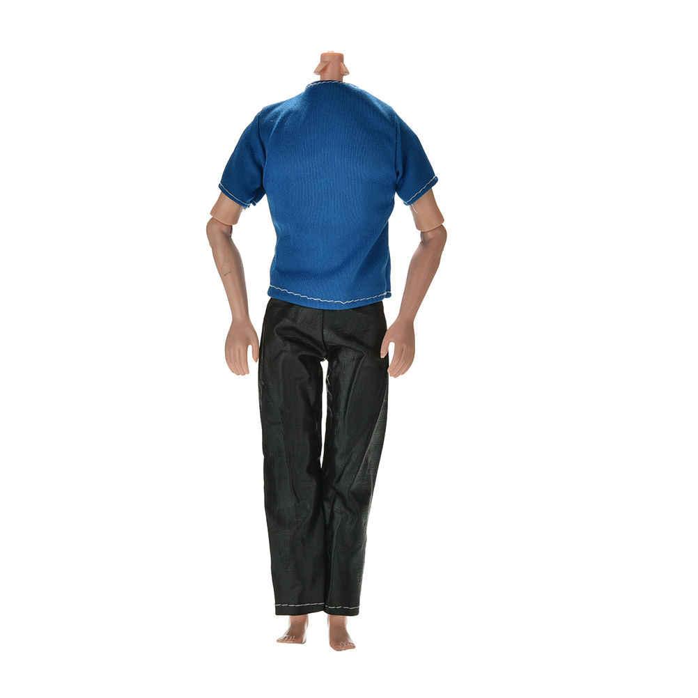 Оптовая продажа 2 шт./компл. ручной работы черные брюки светло голубые футболки