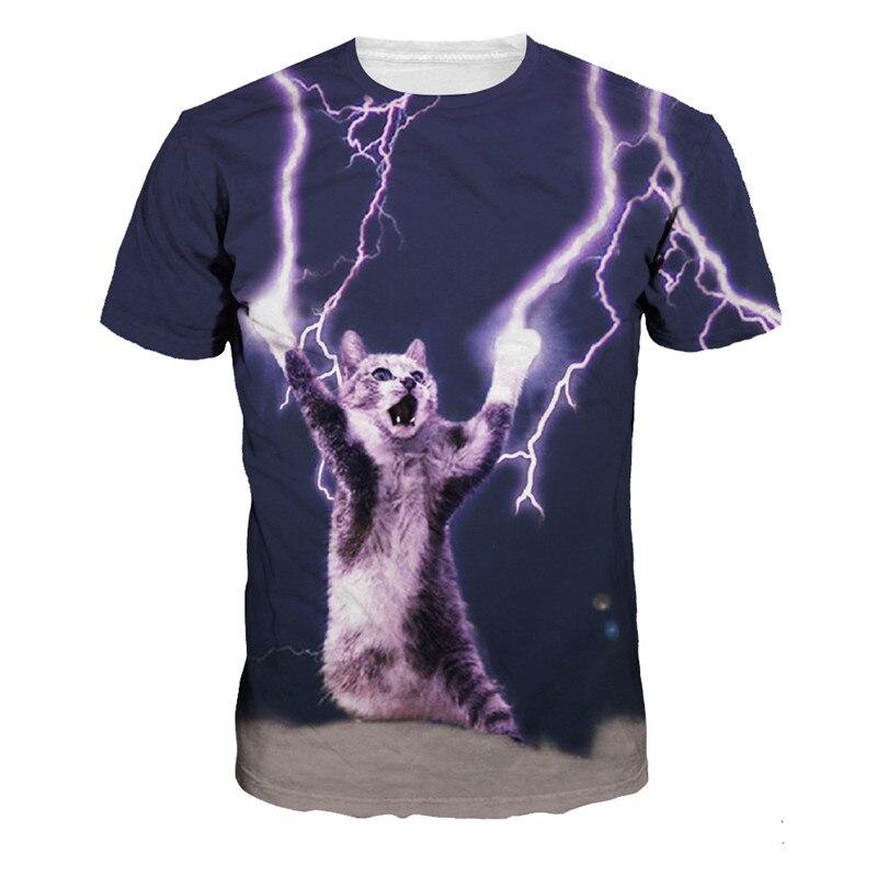 Funny Mens   T  -  shirt   Casual   t     shirt   Men's tshirt Tops Fashion Tee   Shirts   Lightning Super Cat Summer Style