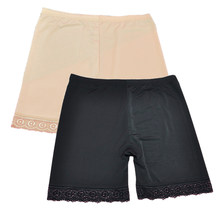 Women Safety Lace Pants Shorts Under Skirt Ladies Ice Silk Safety Short Breathable Underwear 2 Colors Womens Panties(China)