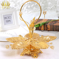 1Pcs Metal Leaf Fruit Plates Serving Tray Candy Blows Stainless Steel Plate For Food Container Home