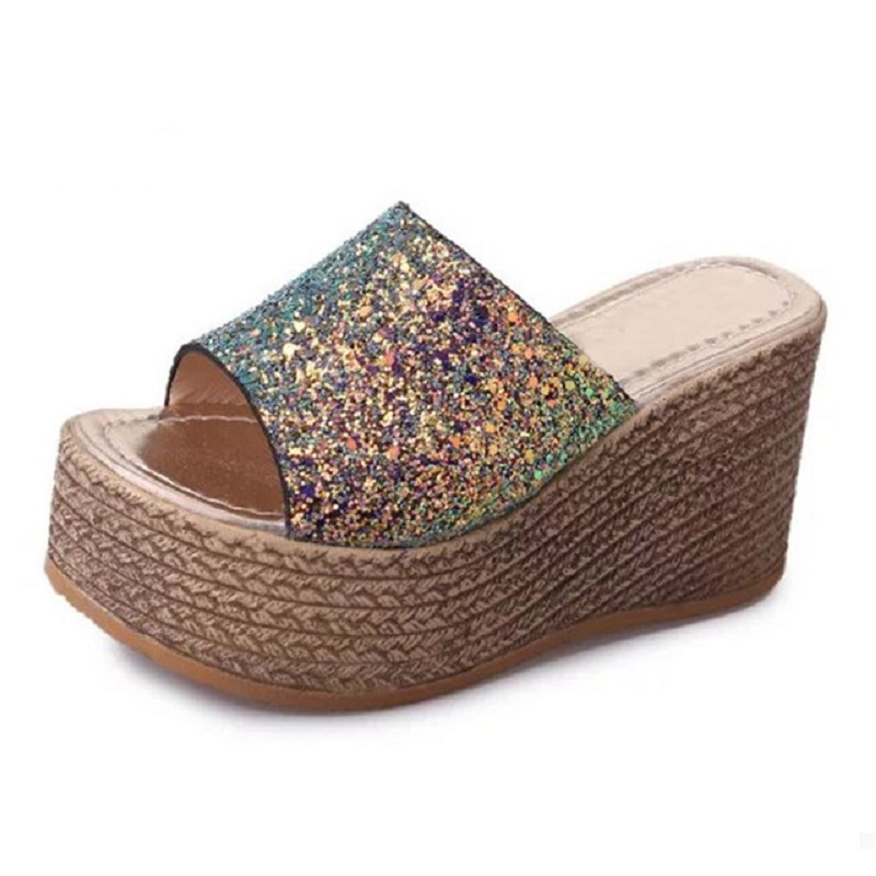 Bling Glitters Slippers 2017 Summer Beach Slides Platform Gold Shoes Woman Leisure Wedges Shoes lanshulan bling glitters slippers 2017 summer flip flops platform shoes woman creepers slip on flats casual wedges gold