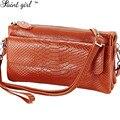 Saint Girl 2015 New Fashion Genuine Leather Shoulder Crossbody Bag Candy Color Alligator Women Messenger Bag Clutch Bag SNS173