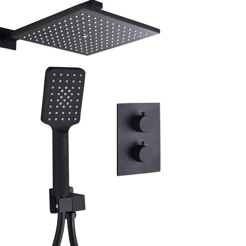 Bagnolux Unique Matte Black Thermostatic Faucets Set Thermostat Bathroom Rain Shower Diverter System With Plastic HandShower