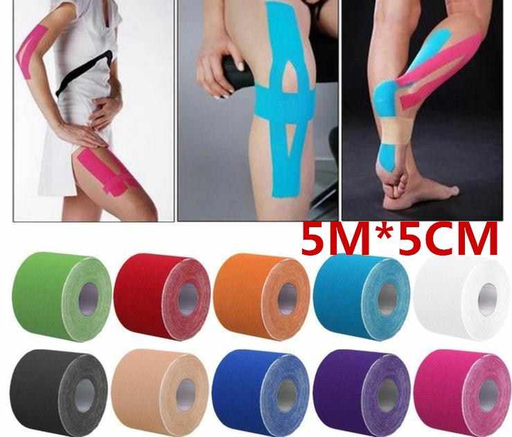 5m Muscle Tape Sports Tape Kinesiology Tape Cotton Elastic Adhesive Muscle Bandage Care Physio Strain Injury Support