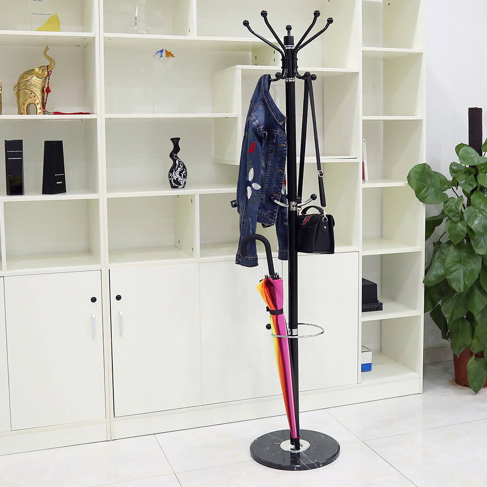 Tree Style Coat Rack 1.7m Metal Coat Hat Jacket Stand Tree Holder Bags Hanger Rack With Marble Base Clothes Racks Hwc Furniture Coat Racks