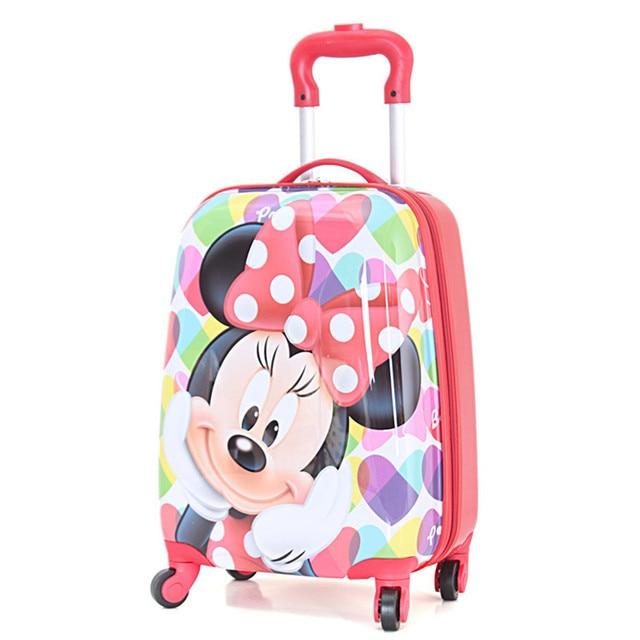 c5a9db86e Girls Minnie Mouse equipaje rodante / los niños de dibujos animados bolsas  de la escuela marca