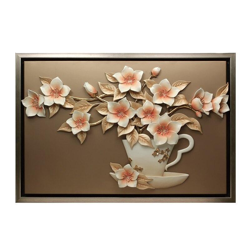 Moderne résine fleur peinture tenture murale artisanat décoration murale pendentif salon fond 3D Sticker Mural ornements muraux - 6