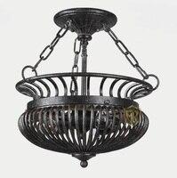 Красивые American Retro гладить потолочный светильник спальня исследования лампа Европейский стиль под старину деревня украшения лампа ya72929