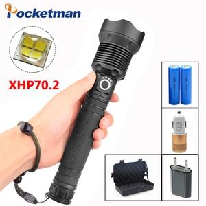XHP70 фонарик перезаряжаемый Мощный тактический фонарь для защиты фонарик с зумом для кемпинга охоты мощный