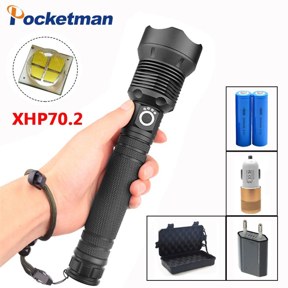 XHP70 lampe de Poche Rechargeable lampe de Poche 40000LM Tactique défense Torche flashligh zoom lampe Pour Camping chasse Puissant
