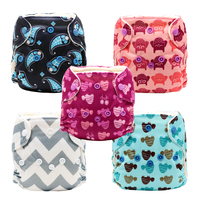 MABOJ 5Pcs Newborn Cloth Diaper All In One AIO Cloth Nappies Waterproof Washable Stay Dry Fast with Microfiber Insert Wholesale