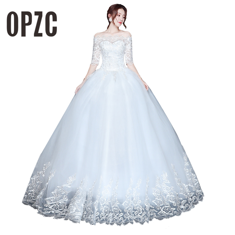 OPZC Vestidos de Noiva Ball Gown Lace Wedding Dress Half Sleeves Off Shoulder Tulle Puffy Bride