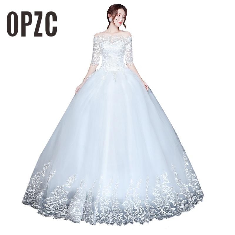 OPZC Vestidos de Noiva Ball Gown Lace Wedding Dress Half Sleeves Off Shoulder Tulle Puffy Bride