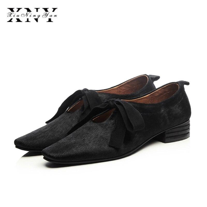 XIUNINGYAN más el tamaño de las mujeres de crin encaje up Flats Oxfords marca diseñador vestido cuadrado mujer zapatos cómodos zapatos mujer - 2