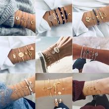 HOCOLE Fashion Bohemian Chain Bracelets For Women Leaf Heart Moon Vintage Charm Gold Metal Bangle Bracelet Sets Party Jewelry
