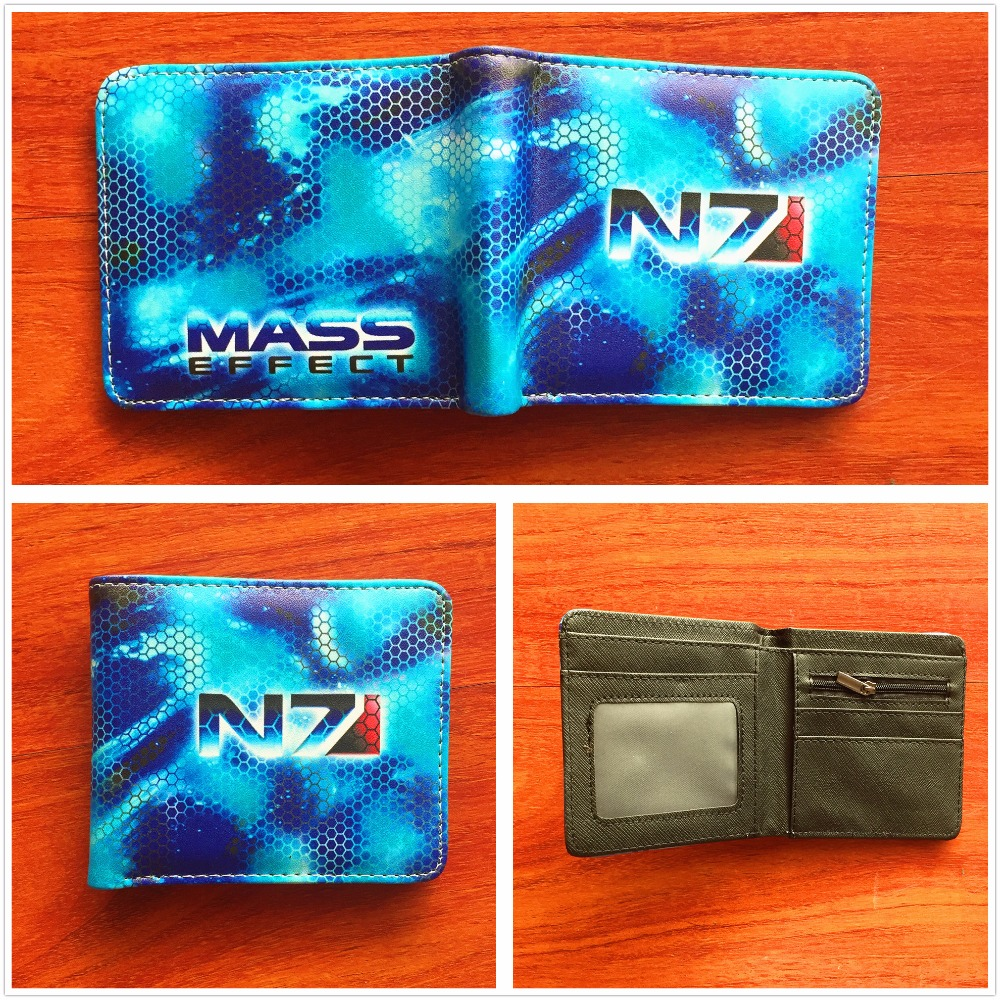 N7 Mass Effect PU Wallet Short Purse Bifold Quality Card Holders wallet Unisex Leather Short folding Purse W751
