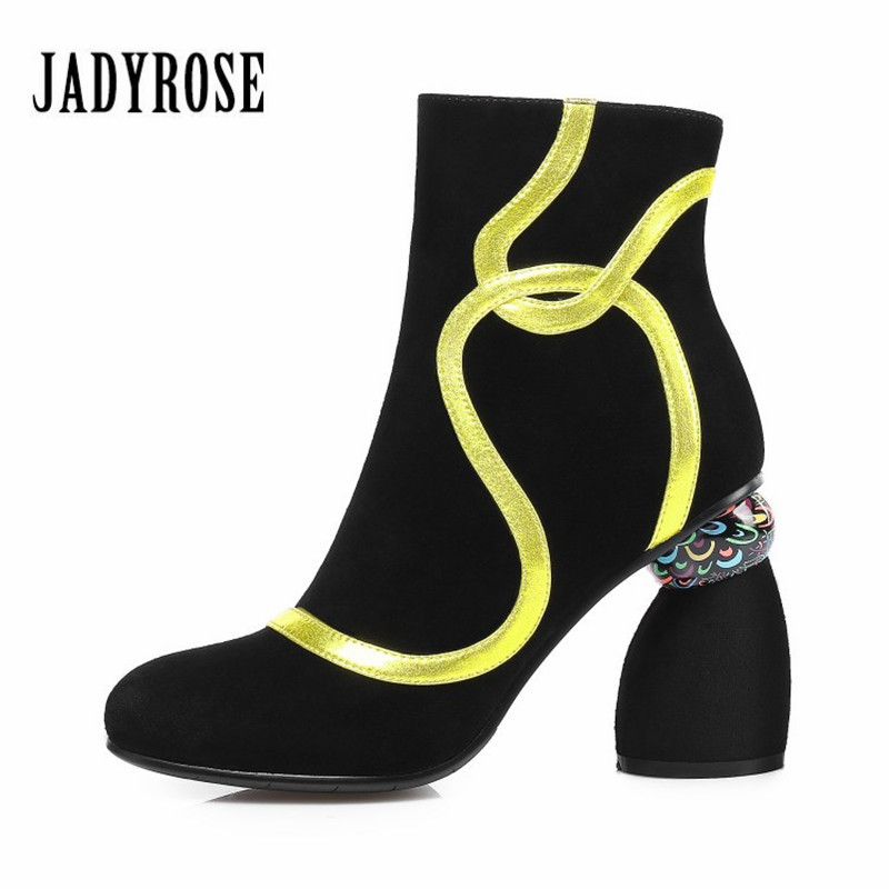 где купить Jady Rose Fashion Linellae Strange Heel Women Ankle Boots Black Suede High Heel Shoes Woman 2018 New Autumn Winter Botas Mujer по лучшей цене