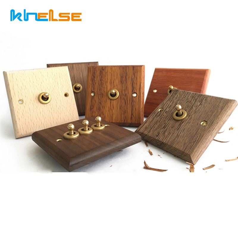 Wall Lights Switch Hand Made Retro Switch 10A 110V-250V Maple/Walnut Wood Panel Brass Lever 1 GANG/ 2 GANG Wall Switch Socket