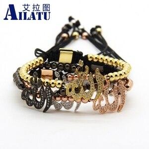 Image 5 - Ailatu Wholesale Muslim Religious Macrame Bracelet Micro Pave Clear Cz Brass Fashion Men Jewelry