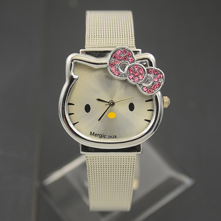 Cat Quartz Hello Kitty Watch Women Luxury Fashion Lady Girl Silver Stainless Steel Net Band Cute Wristwatch Crystal Hour Pink hello kitty clock women dress watch hello kitty cartoon watches stainless steel watch women rhinestone watches kids