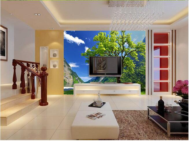 3d wallpaper custom mural non-woven wall sticker The tree blue sky TV setting wall murals stereograph
