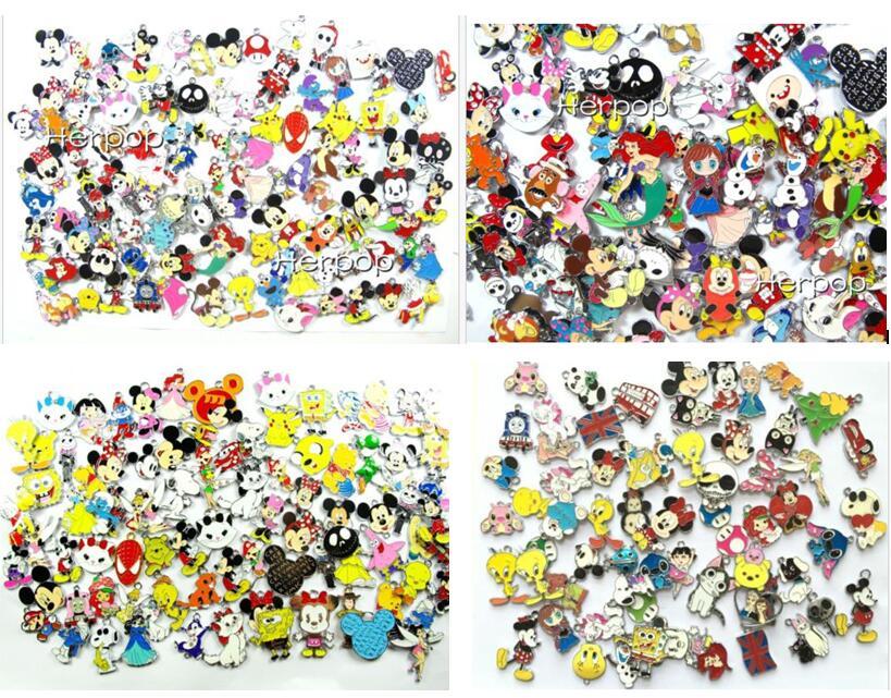 Mixed Hot New lot 500 pcs cartoon animal Anime mixed Metal Charm Pendants DIY Jewelry Making