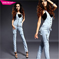 High Quality Sky Blue Skinny Women Jumpsuits Denim Overalls For Women Pants Female Jumpsuit Long Brand Clothing A2101