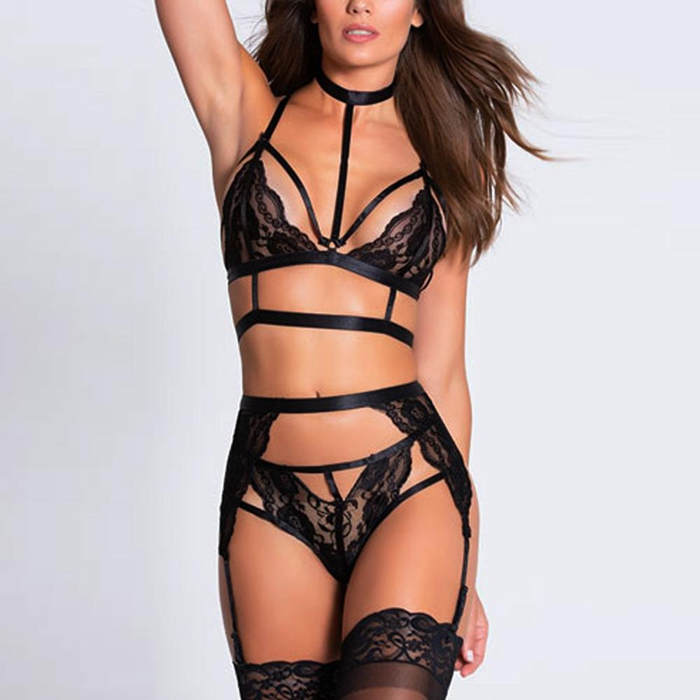 3Pcs Sexy Lingerie Women Erotic Halter Lace Bra G String Garter Set Porno Babydoll Langerie Plus Size Exotic Underwear Costumes