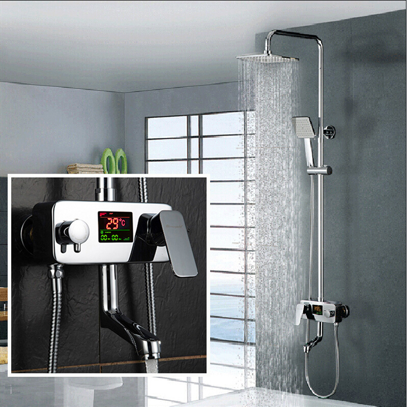Digital Display Shower Faucet Water Powered Digital Display Shower Set Wall Mounted 8 Inch Rain Shower
