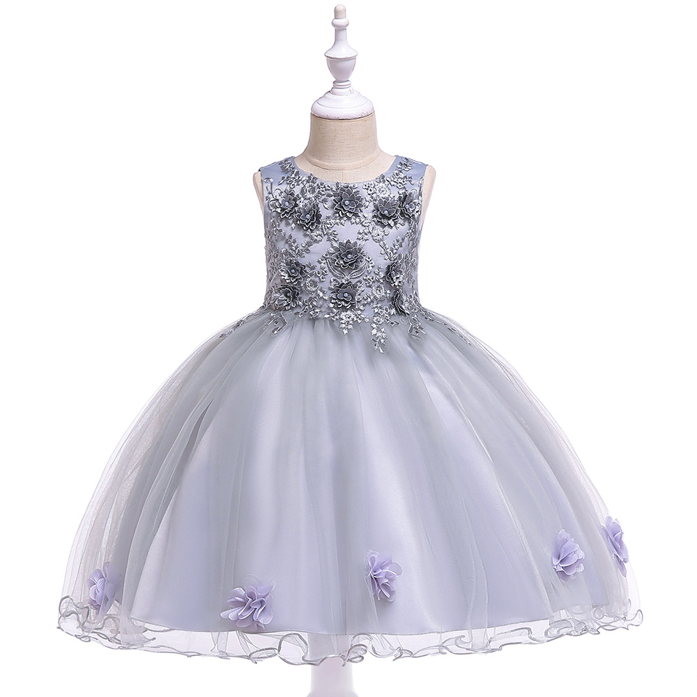 A-Line Grey Lace Appliques   Flower     Girl     Dresses   First Communion   Dresses   Soft Tulle