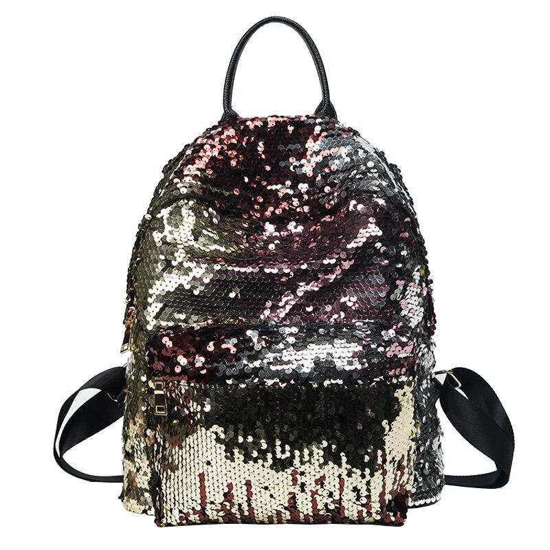 Lydztion Korean Street Fashion Sequins Shoulder Bag 2017 Summer New Bling Women's Bag Shiny Backpack Fashion Leisure Travel Bags