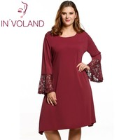 IN VOLAND Women Dress Full Size Spring Autumn Fashion Casual Flare Long Sleeve Solid A Line