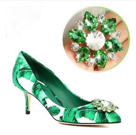 ФОТО  elegant style green banana leafs crystal pointed toe women pumps party shoes shallow high thin heel hottest selling shoes