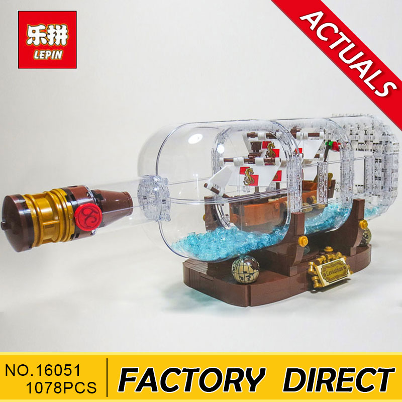 Lepin 16051 New Toys 1078Pcs Movie Series The Idea Ship in a Bottle Set Building Blocks Bricks 21313 display stand Birthday Gift 8 in 1 military ship building blocks toys for boys